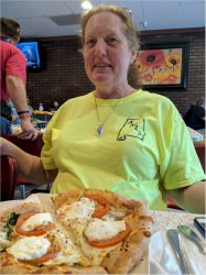Lou Ann Newell and her pizza