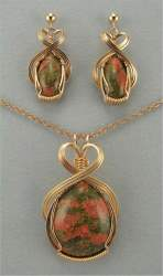 Gloria Adams - Unakite Pendant & Earrings