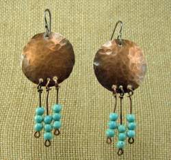 Gloria Adams - Copper Earrings with Turquoise Beads